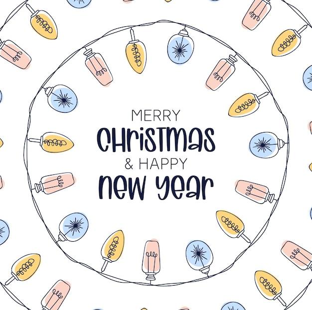 Quadro de lâmpadas de natal, forma de círculo vertical. moldura desenhada mão natal simples, mas fofo. ilustração vetorial.