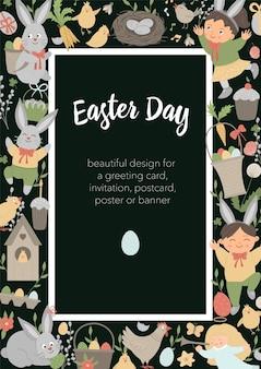 Quadro de layout vertical de páscoa com coelho, ovos e crianças felizes em fundo preto.