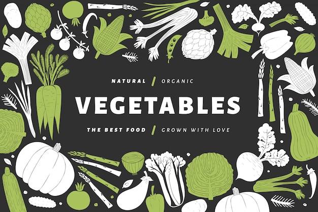 Quadro de legumes desenhada mão dos desenhos animados