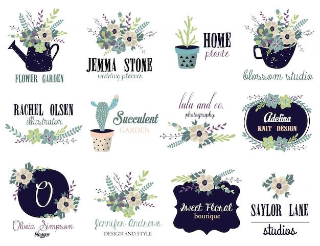 Quadro de logotipo floral para casamento, branding.