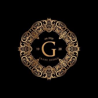 Quadro de luxo com logotipo da cor dourada