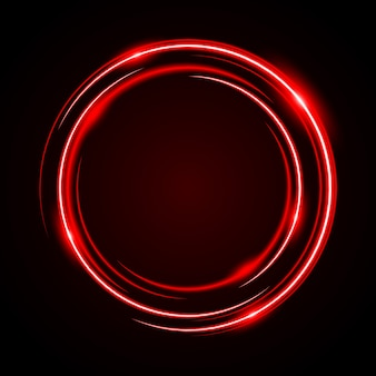 Quadro de luz vermelha de néon círculo abstrato