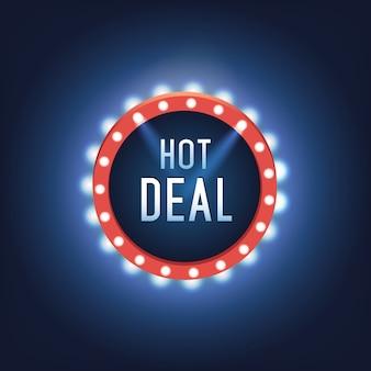 Quadro de luz vetorial. painel retro. sinal de publicidade vermelho e amarelo. super oferta. venda e desconto, banner comercial
