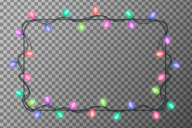 Quadro de luzes de natal realista