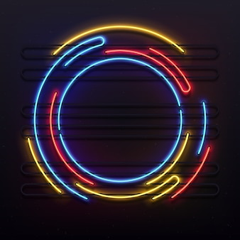 Quadro de luzes de néon do círculo