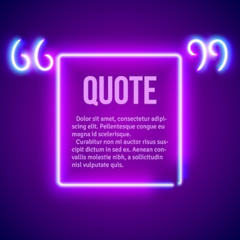 Quadro de marcas de citação brilhante retrô néon