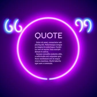 Quadro de marcas de citação retro neon brilhante