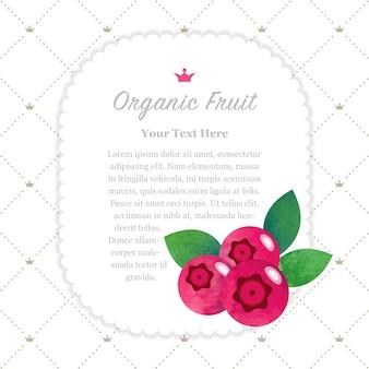 Quadro de memorando de frutas orgânicas com textura aquarela colorida cranberry