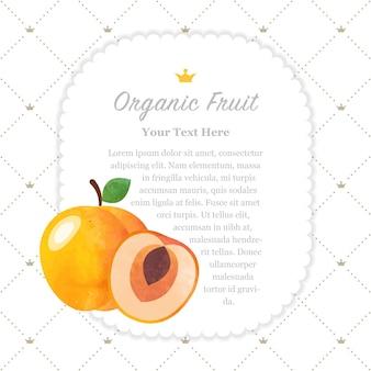 Quadro de memorando de frutas orgânicas com textura aquarela colorida damasco