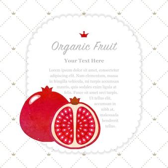 Quadro de memorando de frutas orgânicas com textura aquarela colorida romã vermelha
