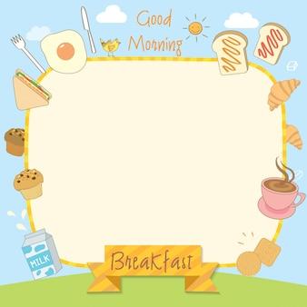 Quadro de menu de café da manhã de manhã