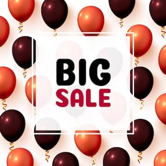 Quadro de mercado de balão de grande venda em fundo branco. ilustração vetorial