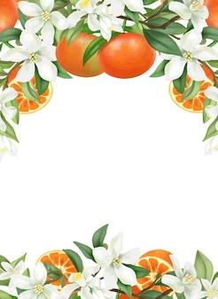 Quadro de modelo de cartão desenhado à mão florescendo ramos de árvore de mandarim, flores e tangerinas