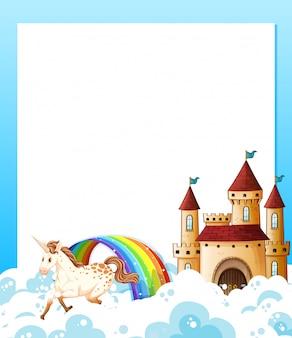 Quadro de modelo de unicórnio e castelo