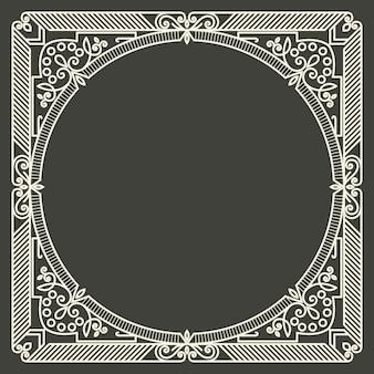 Quadro de monograma floral e geométrico
