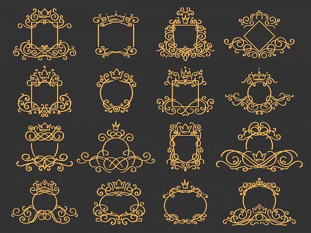 Quadro de monograma real. emblema de coroa desenhada de mão, doodle vintage croqui sinal e conjunto de monogramas elegantes