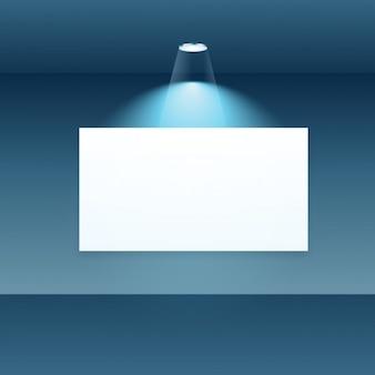 Quadro de mostrar vazia com luz do ponto