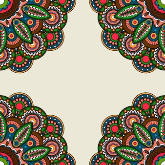 Quadro de motivos redondos florais ornamentados