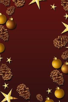 Quadro de natal com ilustração de pinheiros e estrelas