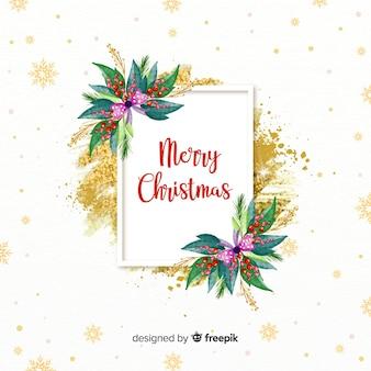 Quadro de Natal decorativo em aquarela