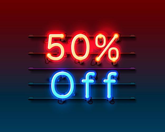 Quadro de néon 50 fora do banner de texto. placa night sign. Vetor Premium