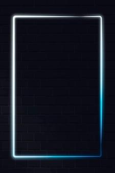 Quadro de néon branco e azul em um fundo escuro