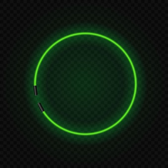 Quadro de néon brilhante lâmpada círculo em transparente