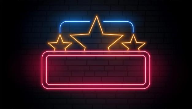 Quadro de néon de estrelas com espaço de texto