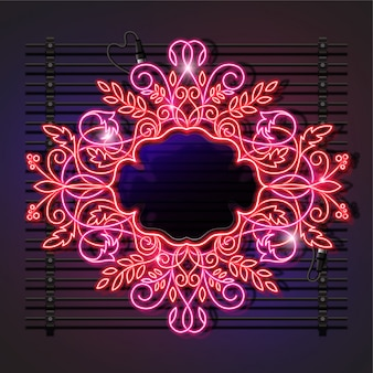 Quadro de néon de tema floral