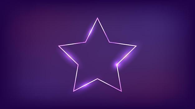 Quadro de néon em forma de estrela com efeitos brilhantes em fundo escuro. pano de fundo vazio de techno brilhante. ilustração vetorial.