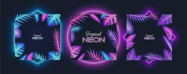 Quadro de néon roxo com banana tropical, plantas monstera, folhas de palmeira, ilustração vetorial isolada. a planta exótica da selva de cores fluorescentes deixa as fronteiras.
