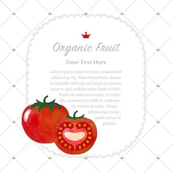 Quadro de notas de frutas orgânicas com textura aquarela colorida tomate