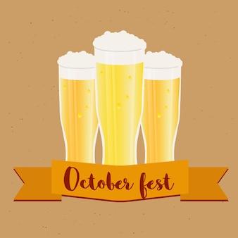Quadro de oktoberfest com copos de cerveja. modelo de pôster e banner. ilustração vetorial