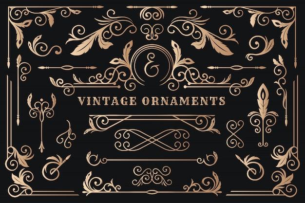 Quadro de ornamento clássico, ilustração de fronteira vintage