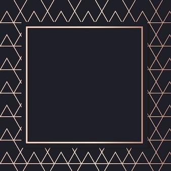 Quadro de ouro vetor de padrão geométrico cartão de fundo azul elegante de vetor