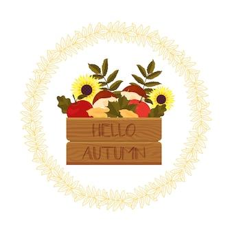 Quadro de outono com abóboras, girassóis, cogumelos e folhas. modelo para seu projeto. estilo de desenho animado. ilustração vetorial.