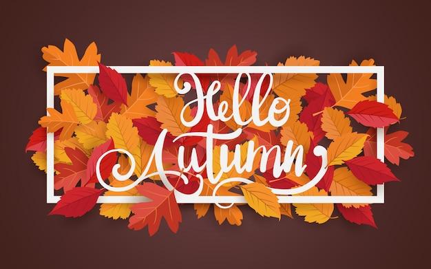 Quadro de outono com folhas bandeira