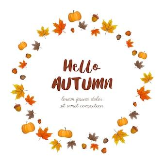 Quadro de outono com folhas, bolota e abóbora