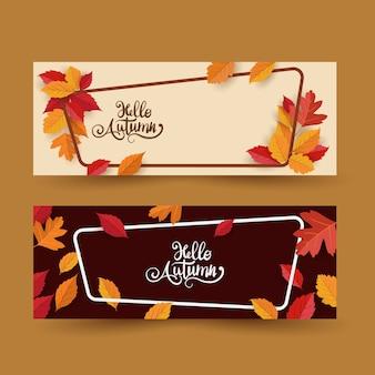 Quadro de outono com folhas conjunto banner