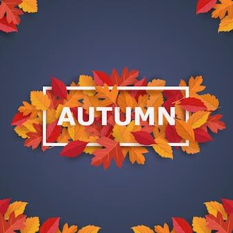 Quadro de outono com folhas