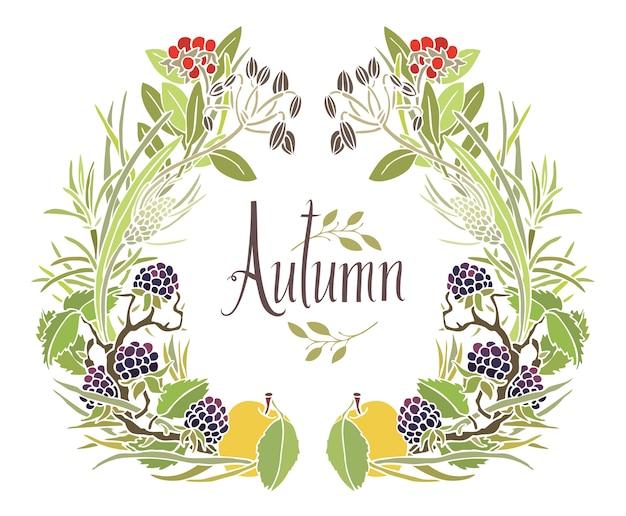 Quadro de outono de folhas, galhos e maçãs