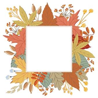 Quadro de outono, folhas de outono, galhos e galhos com fundo quadrado