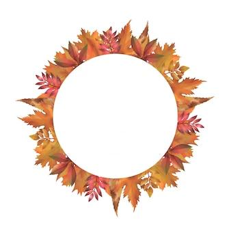 Quadro de outono, fundo do círculo em branco e decorado com folhas em aquarela