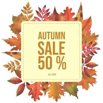 Quadro de outono, vendas de banner decorada com folhas em aquarela