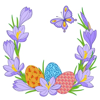 Quadro de ovos de páscoa brilhantes e flores de açafrão