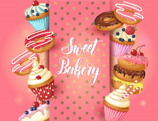 Quadro de padaria doce com donuts, cheesecake e cupcakes com cereja, morangos e mirtilos