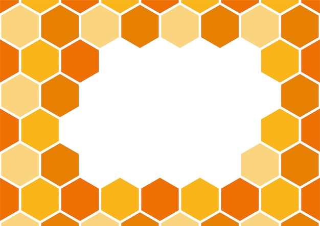 Quadro de padrão de favo de mel de abelha, modelo de plano de fundo de arte. borda de mel de vetor
