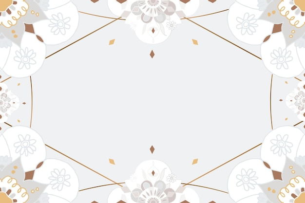 Quadro de padrão mandala dourado cinza botânico estilo indiano