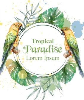 Quadro de paraíso tropical com papagaios em aquarela e folhas de palmeira