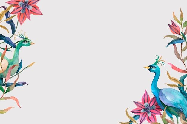 Quadro de pavão com flores em aquarela sobre fundo bege